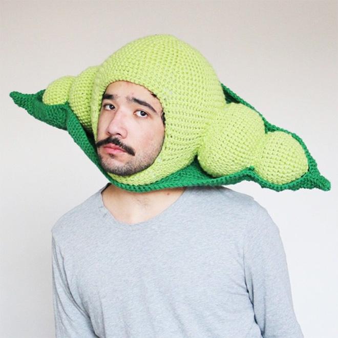 Crocheted food hat.