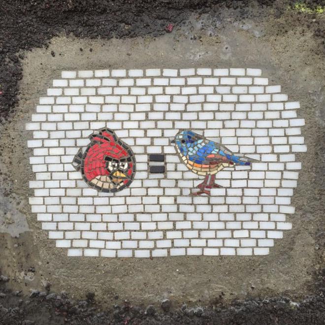 Pothole fixed with mosaic.